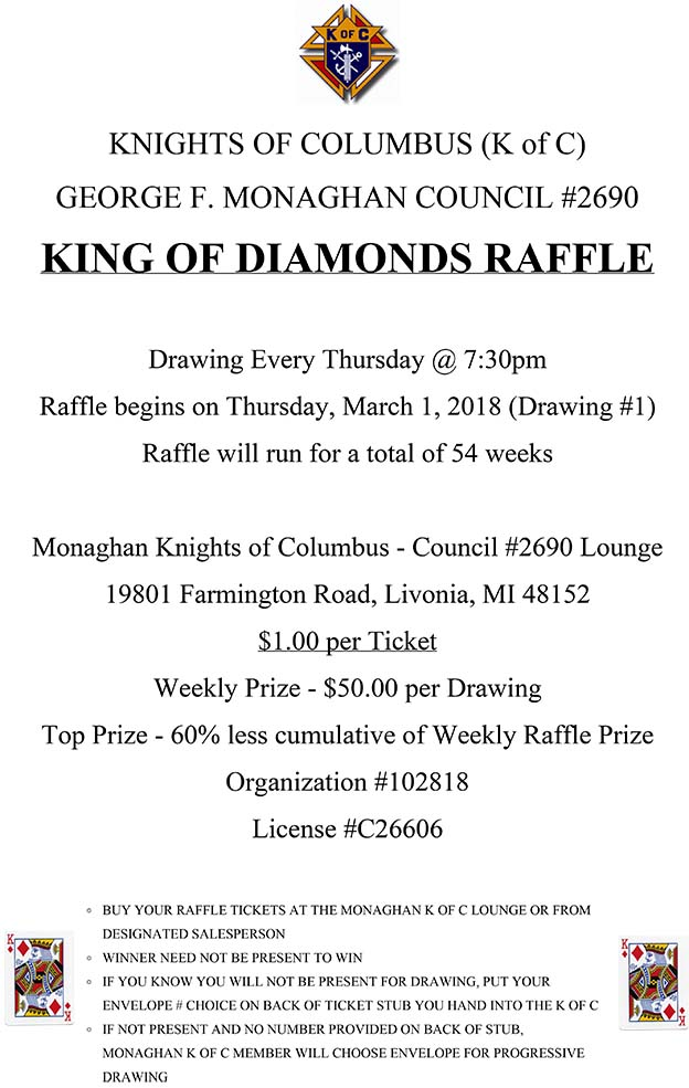 King of Diamonds Drawing @ George F. Monaghan Council | Livonia | Michigan | United States